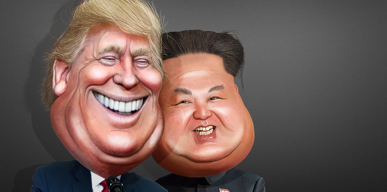 Donald Trump and Kim Jong-un - Karikatur