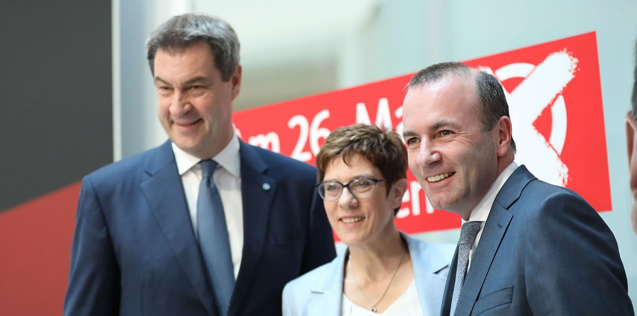Markus Söder, Annegret Kramp-Karrenbauer and Manfred Weber