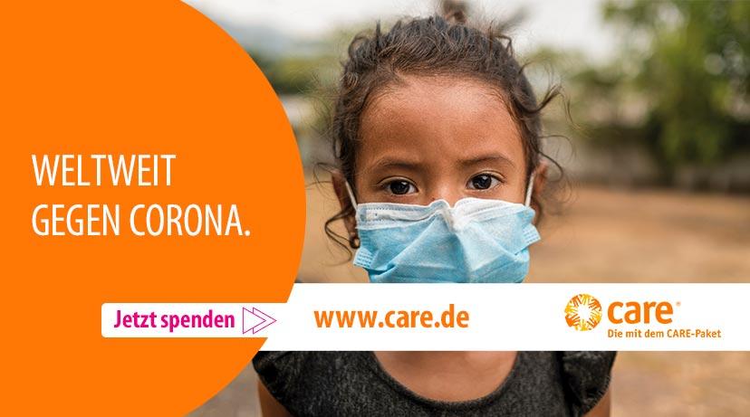 Care Logo und Corona Werbung